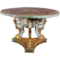 A Polychrome and Parcel Gilt Baroque Center Table