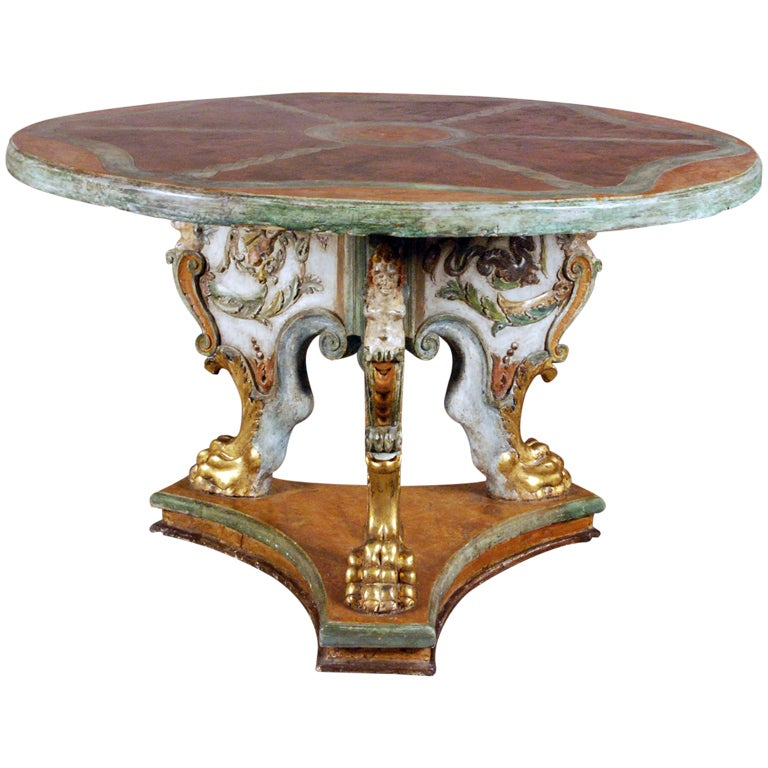 A Polychrome and Parcel Gilt Baroque Center Table For Sale