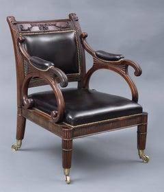 English Regency Carved Mahogany and Leather Library Armchair