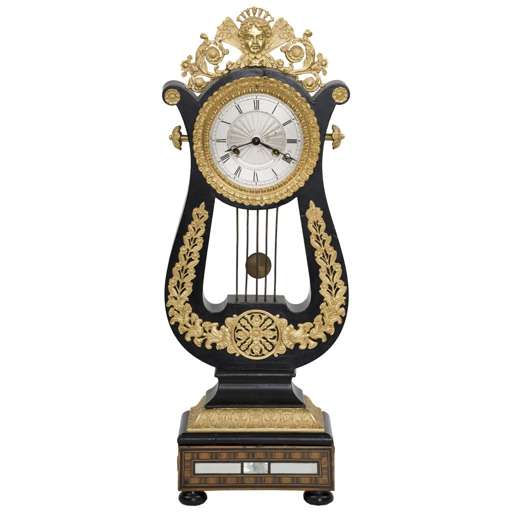French Eight-Day Gilded Mantle Clock For Sale
