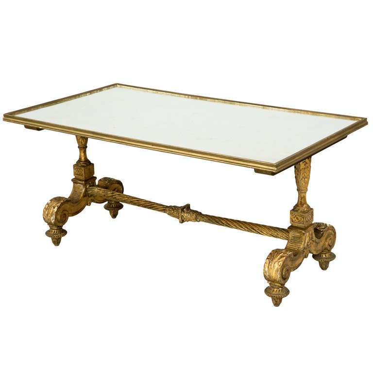Antique French Carved Giltwood Mirrored Coffee Table At 1stdibs
