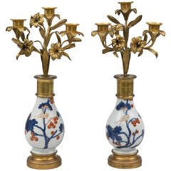 "Pair of French Candelabrum on ""Imari"" Stands"