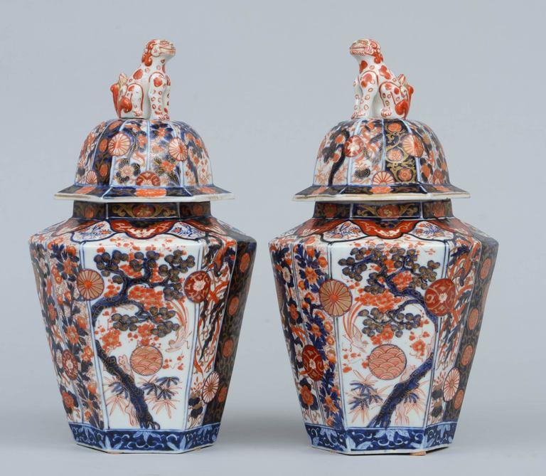 Pair Imari Porcelain Vases & Lids 2
