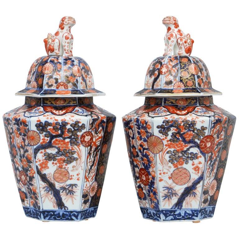 Pair Imari Porcelain Vases & Lids 1