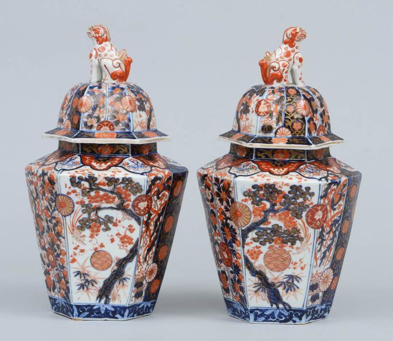 Pair Imari Porcelain Vases & Lids 4