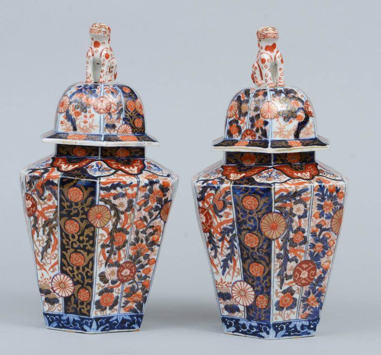 Pair Imari Porcelain Vases & Lids 5