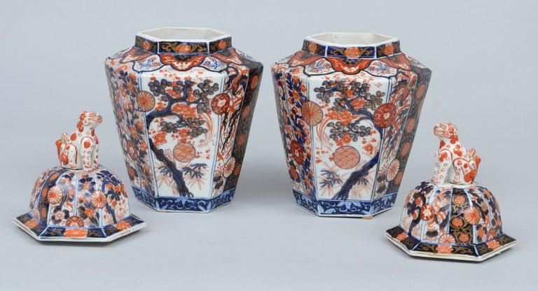 Pair Imari Porcelain Vases & Lids 6