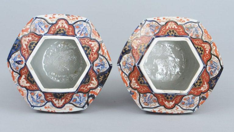 Pair Imari Porcelain Vases & Lids 7
