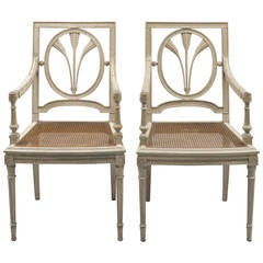 Pair of French Grey Painted Armchairs