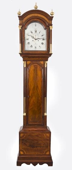 George III Mahogany Inlaid Tall Case Clock by James Clarke, circa 1770