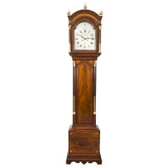 George III Mahogany Inlaid Tall Case Clock by James Clarke, circa 1770