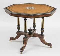 Burl Elm Inlaid Center Table