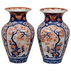 Pair of Japanese Imari Open Vases, circa 1870