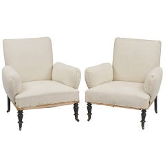 French Pair Upholstered Armchairs