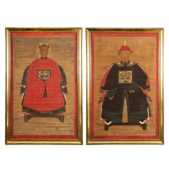 Antique Pair of Chinese Ancestor Portraits