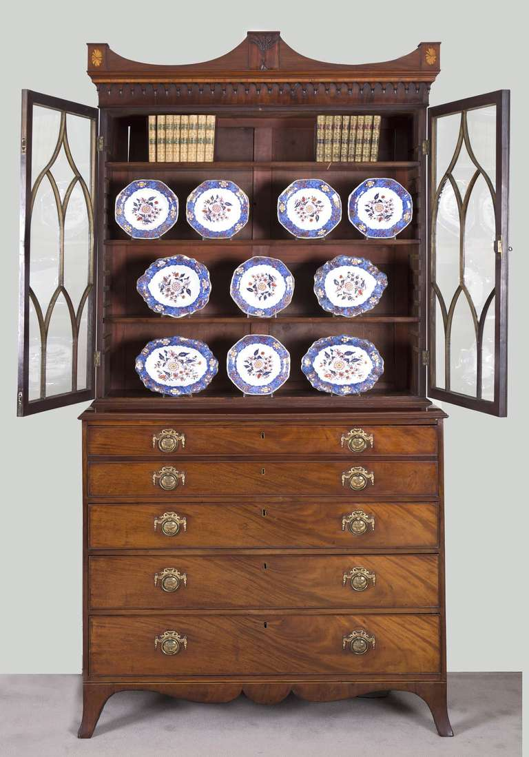 Brass English George III Secretaire Bookcase For Sale
