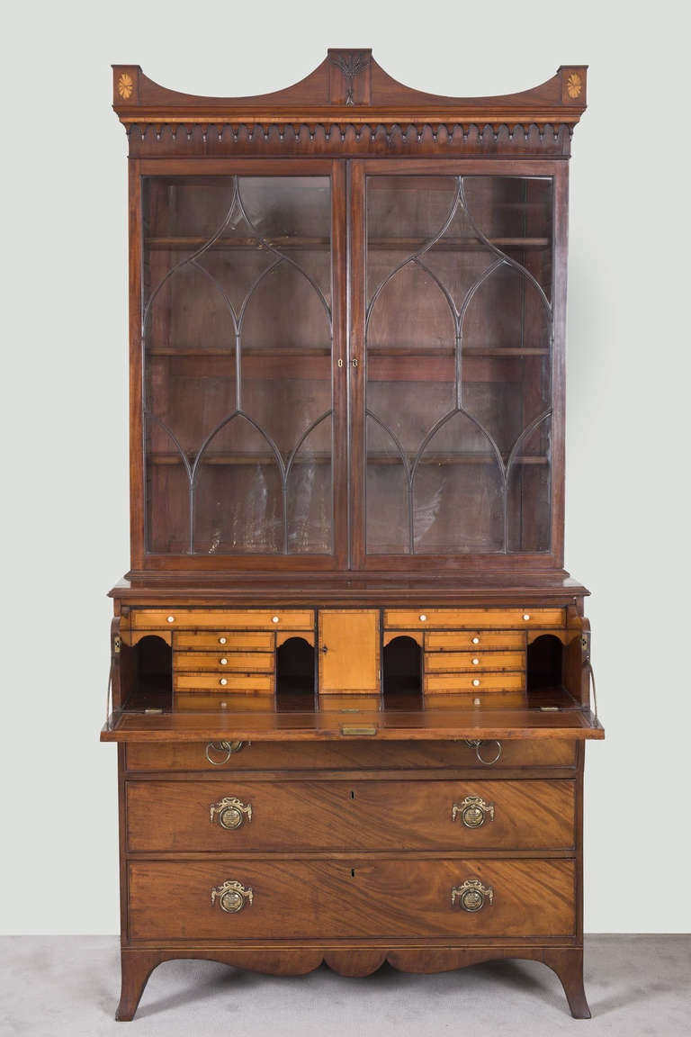 English George III Secretaire Bookcase For Sale 1