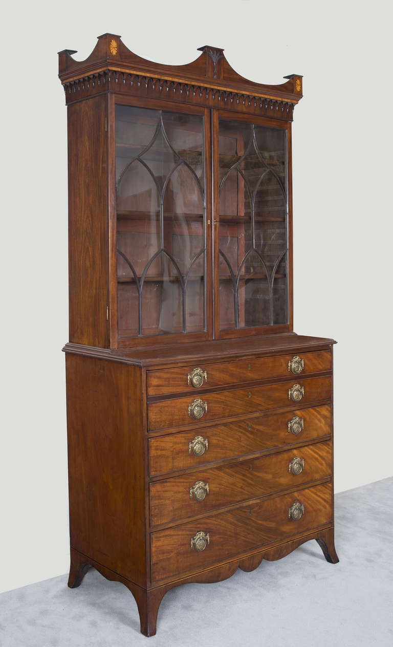 English George III Secretaire Bookcase For Sale 3
