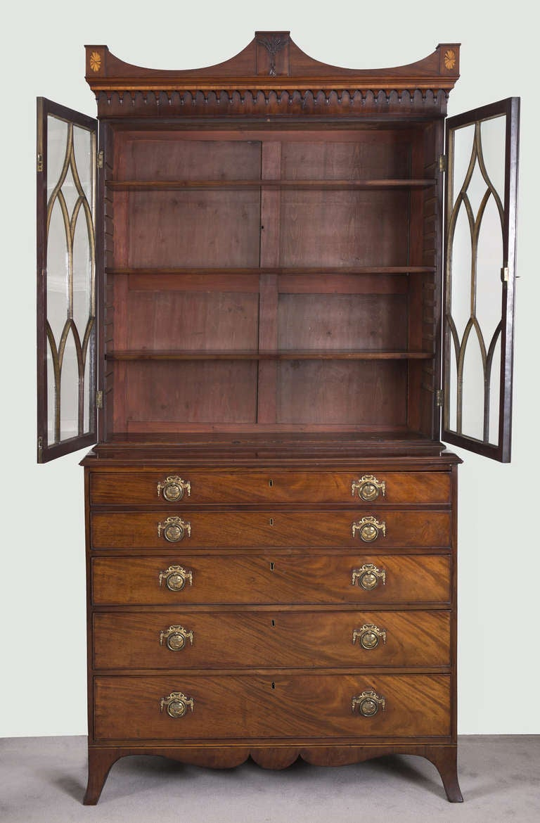 English George III Secretaire Bookcase For Sale 4