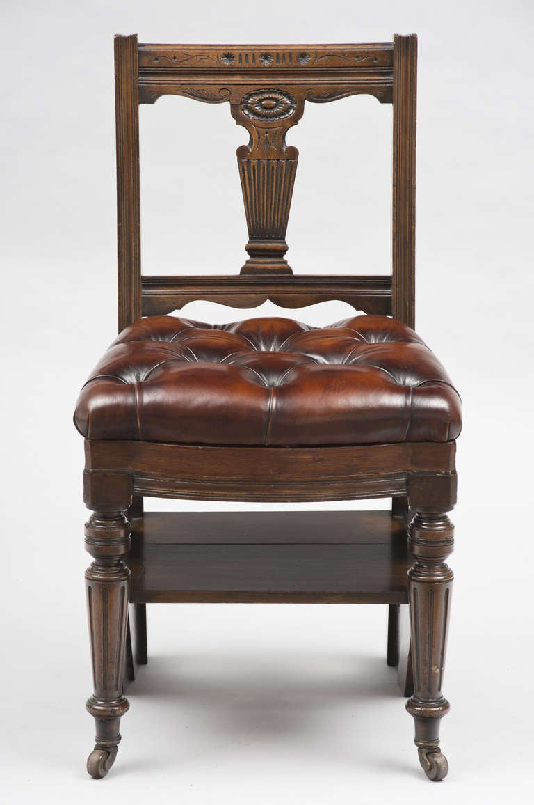 19th Century Victorian Mahogany Metamorphic Chair And Library Steps, Circa  1870 For Sale