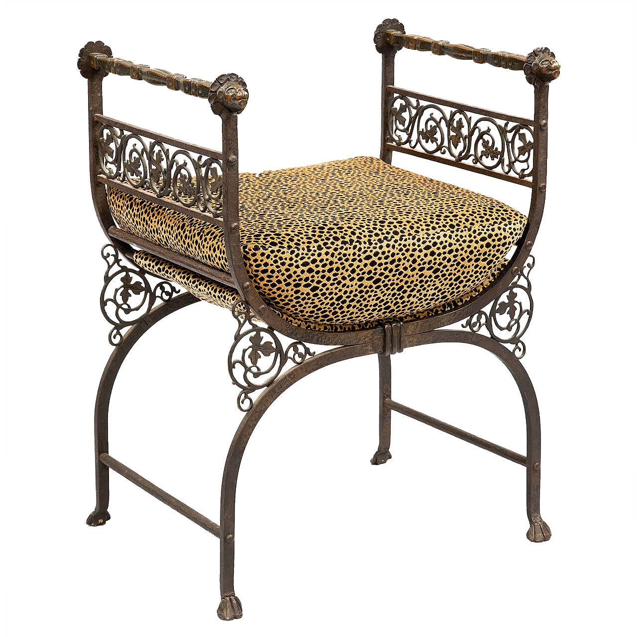 Savonarola Bronze And Wrought Iron Hall Bench For Sale At 1stdibs