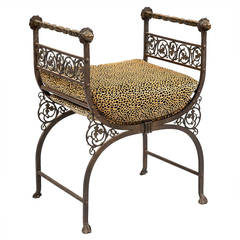 Savonarola Bronze and Wrought Iron Hall Bench