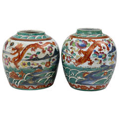 Pair of Chinese Clobbered Squat Jars, circa 1800