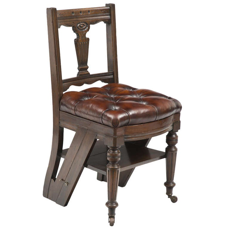 leather library chairs for sale victorian mahogany metamorphic chair and library steps 16646 | 817223 l