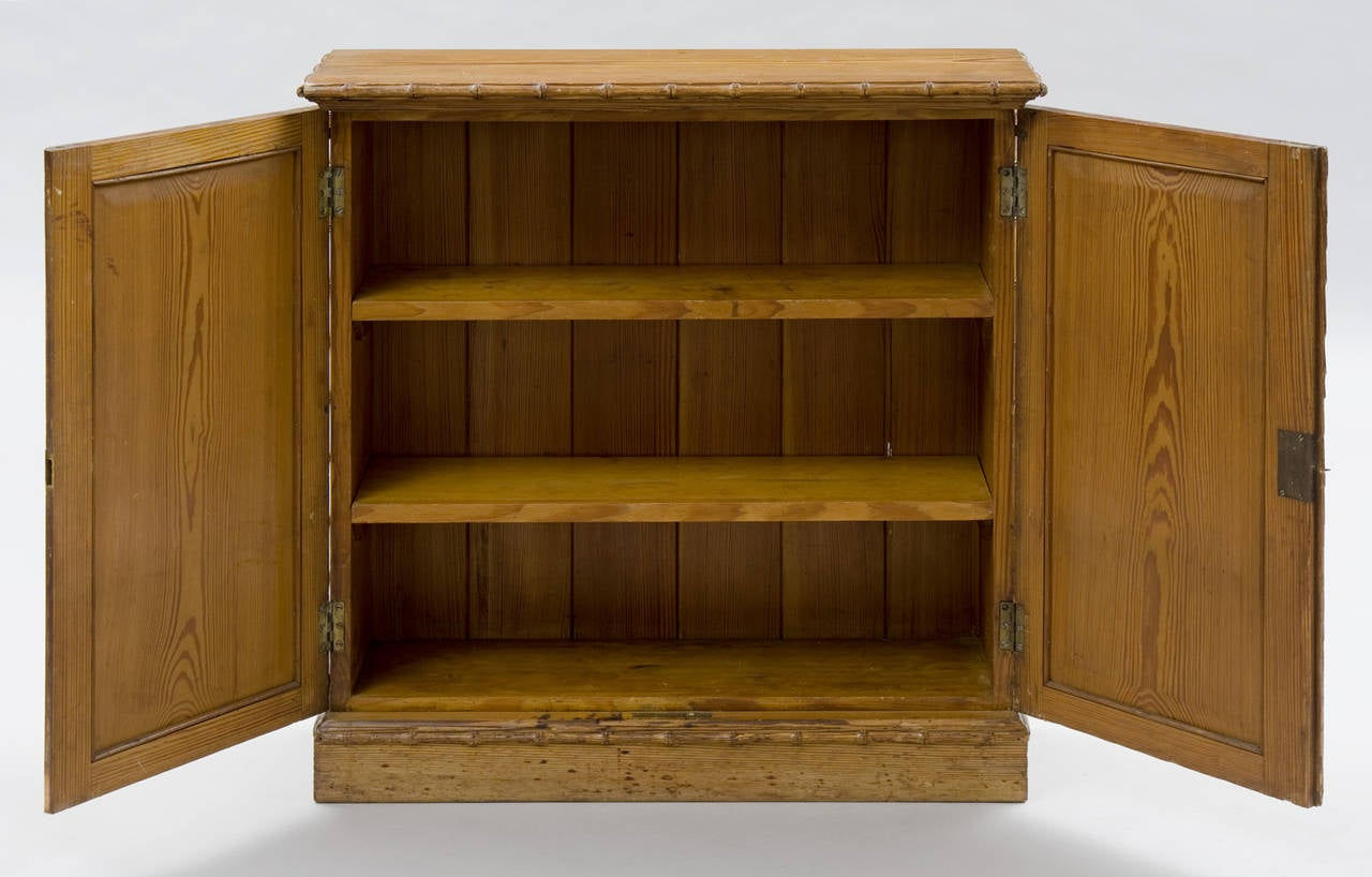 Pine english antique faux bamboo cabinet for sale at 1stdibs for Bamboo kitchen cabinets for sale