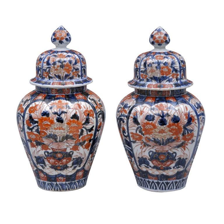 Pair Imari Lidded Vases 1