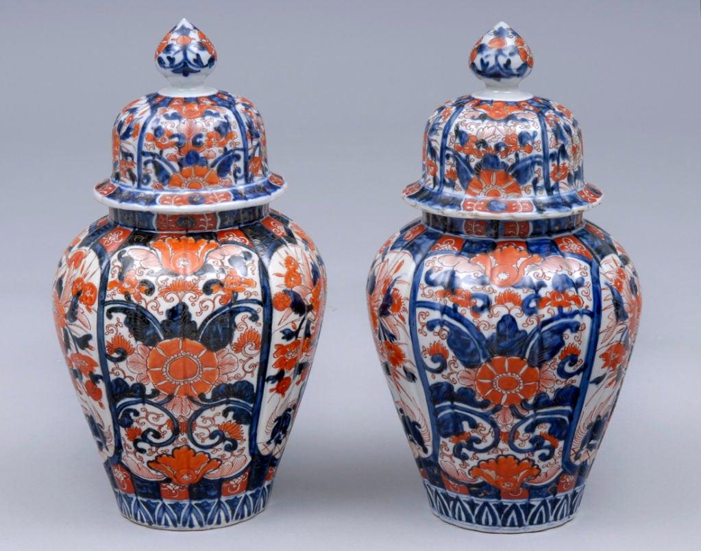 Pair Imari Lidded Vases 2
