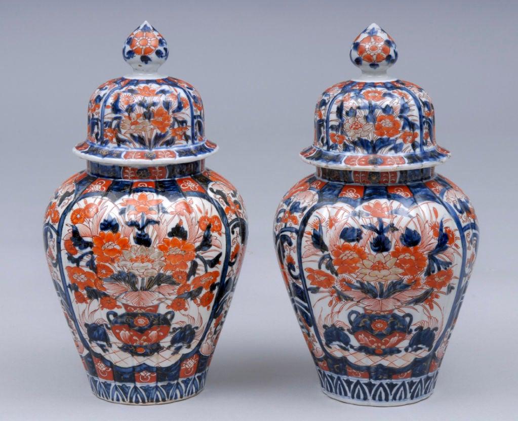 Pair Imari Lidded Vases 3