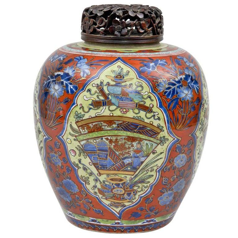 Chinese Blue and White Clobbered Jar