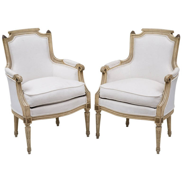 Pair of French Louis XVI Style Bergères