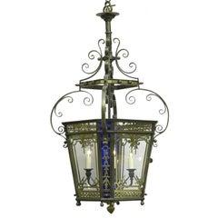 English Gilded Bronze Hanging Lantern