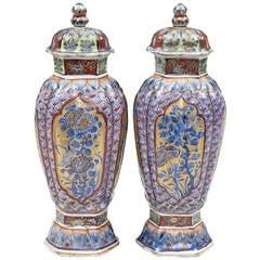 Pair of Chinese Clobbered Vases, circa 1700