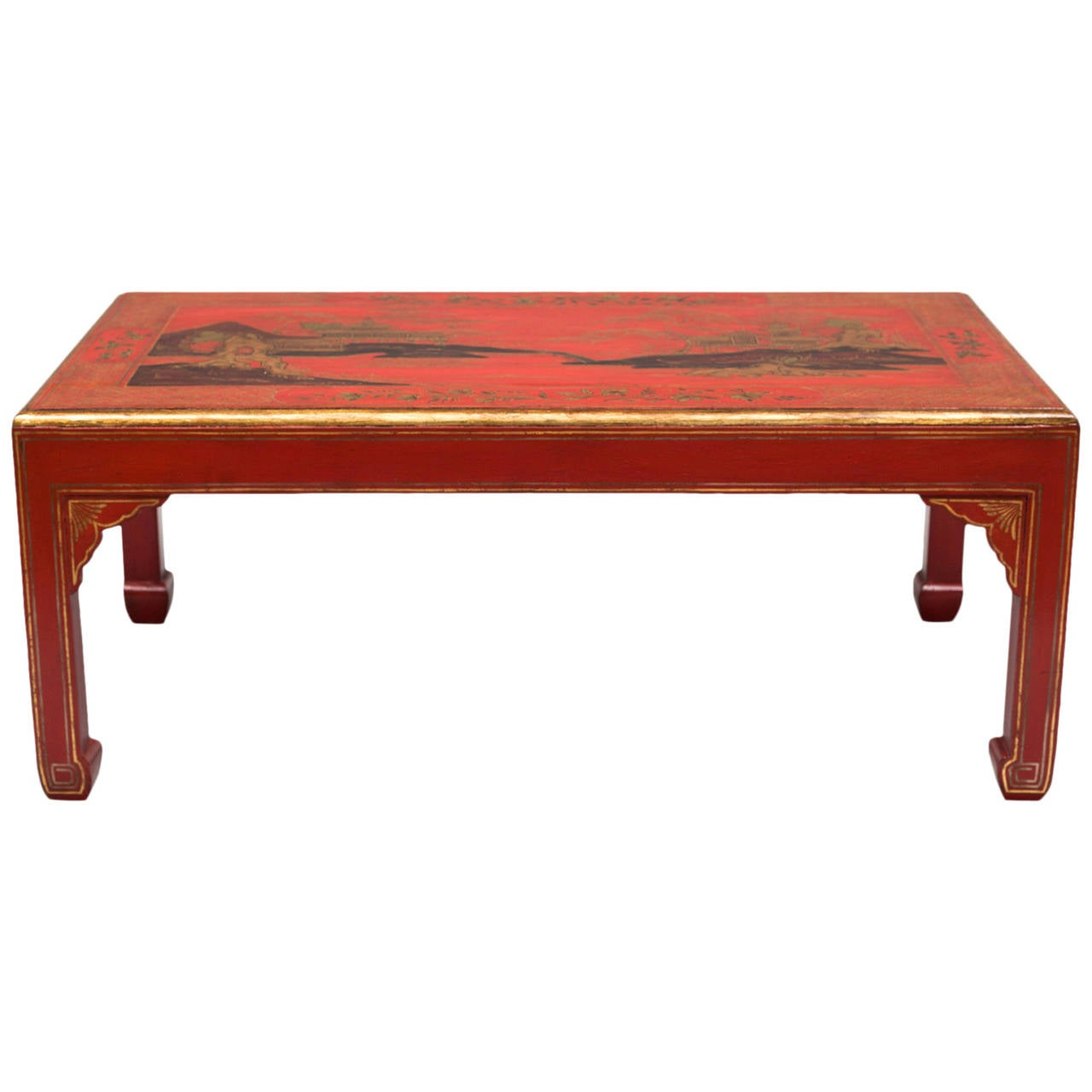 Chinoiserie Red Lacquered Coffee Table At 1stdibs