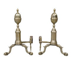 American Pair of Brass/Iron Andirons