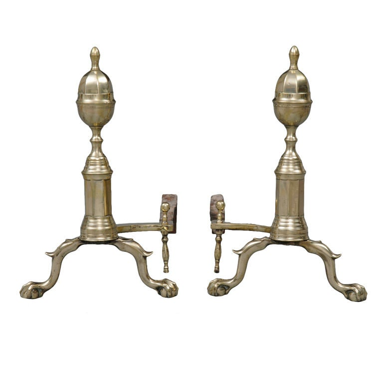 American Pair of Brass/Iron Andirons