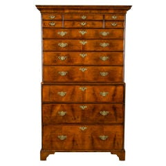 English Georgian Walnut Chest On Chest (Tallboy)