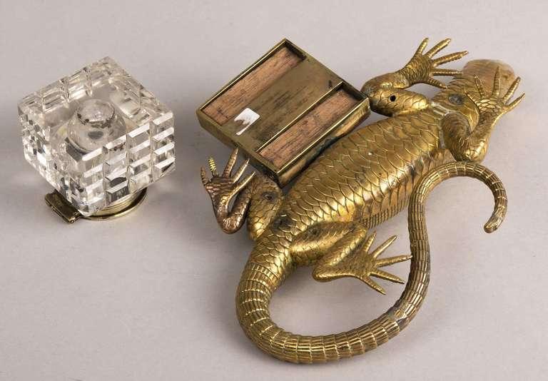 English Antique Brass Salamander Ink Stand Circa 1890 At