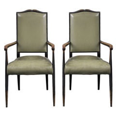 French Pair Ebonized Armchairs