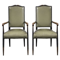 French Pair of Ebonized Armchairs