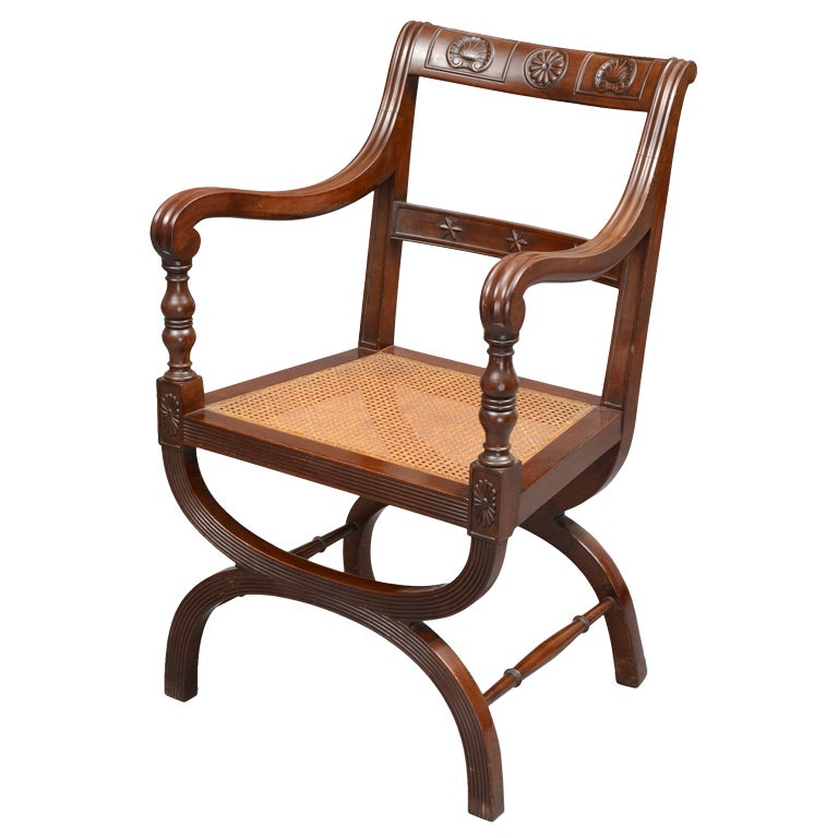 English Carved X-Frame Armchair