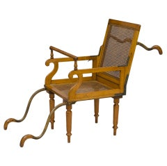 Antique English Campaign Traveling Folding Armchair