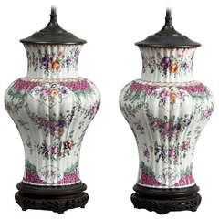 Pair of Samson Porcelain Vase Lamps, Circa 1880