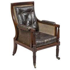Antique English Regency Mahogany Caned Armchair