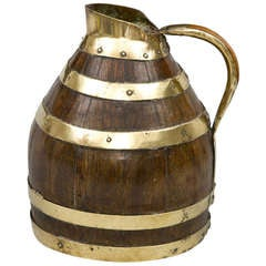 Antique Oak and Brass Coopered Jug, circa 1880
