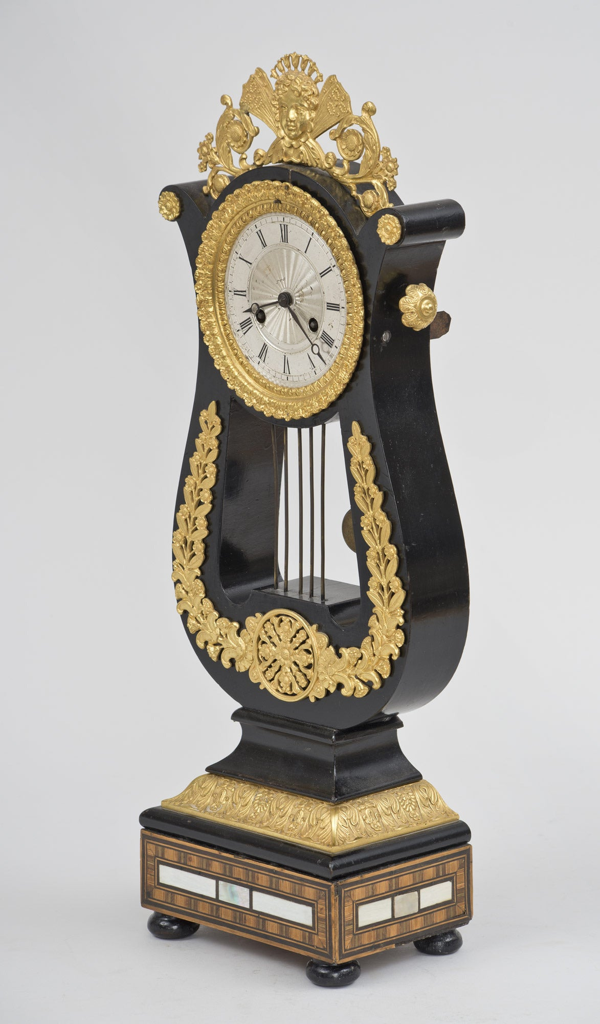 Ebonized French Eight-Day Gilded Mantle Clock For Sale