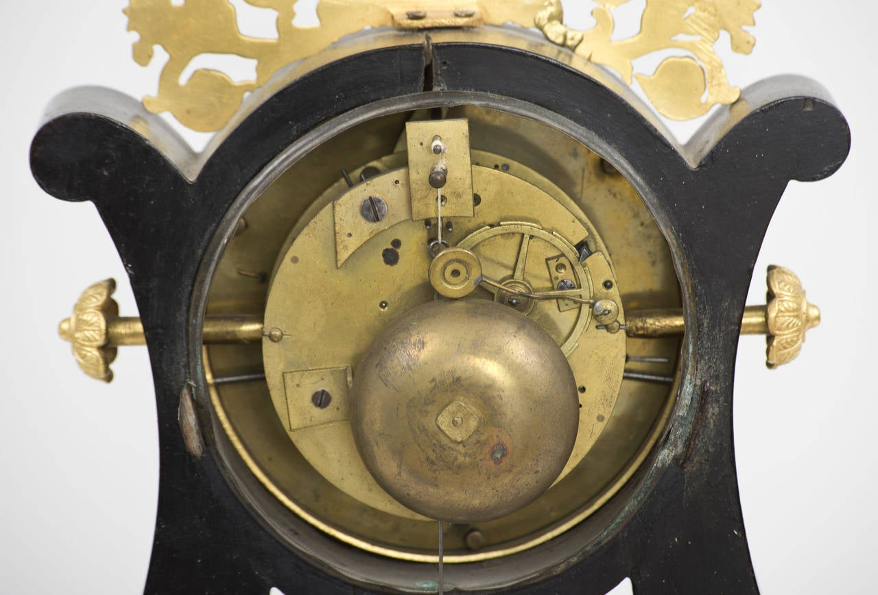 French Eight-Day Gilded Mantle Clock For Sale 1